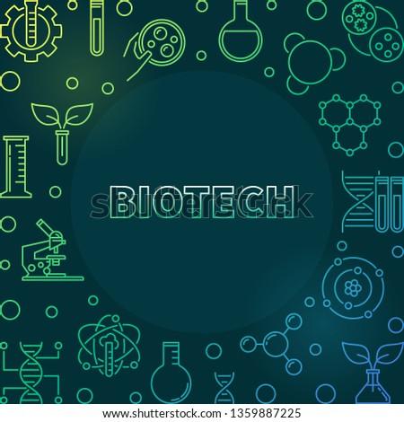 Vector Biotech colorful outline illustration or frame on dark background #1359887225