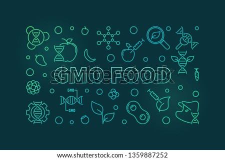 GMO Food vector concept linear horizontal banner or illustration on dark background #1359887252