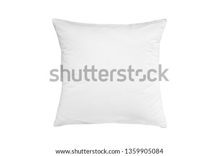 White pillow isolated, pillow on a white background, pillow staked against white background  #1359905084