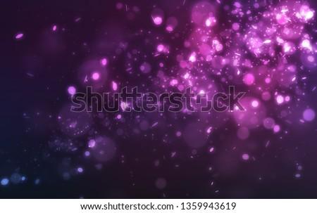 Abstract purple glitter light and bokeh falling on dark background #1359943619