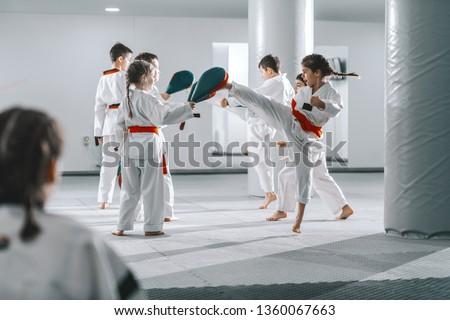 Group of sporty Caucasian children in doboks having taekwondo class in white gym. #1360067663