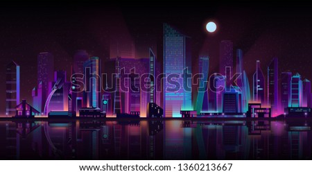 Modern metropolis streets shrouded in darkness cartoon vector background. Futuristic skyscrapers buildings illuminated with neon color lights and moonlight on seashore illustration. Urban architecture Royalty-Free Stock Photo #1360213667