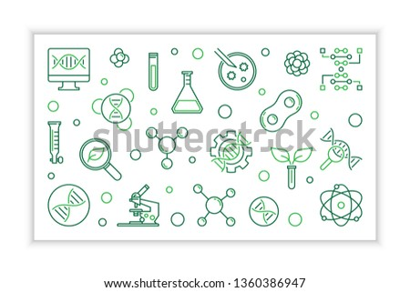 Biotechnology concept linear banner. Vector Biotech creative horizontal illustration in outline style #1360386947