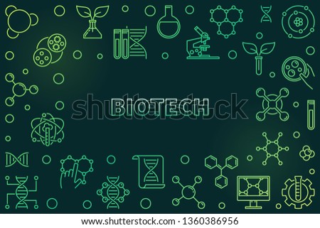 Biotech concept green horizontal frame or illustration in thin line style on dark background #1360386956