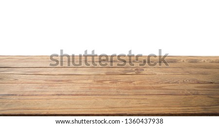 Wooden table texture background isolated on white. Copy space and mock up. Top view and template. Banner Wood floor. Place for food #1360437938