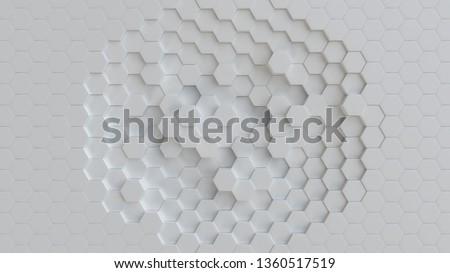Hexagonal white background texture. 3d illustration, 3d rendering