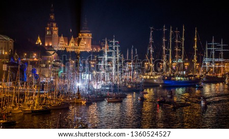 The tall ship races in Szczecin (Stettin) at night Royalty-Free Stock Photo #1360524527
