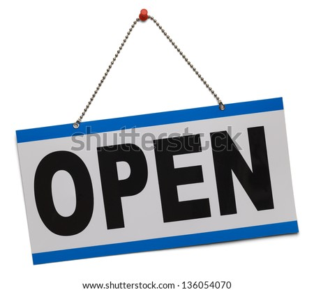 Blue and white open sign hanging on chain isolated on a white background.