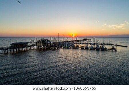 Fairhope Pier on Mobile Bay along the Alabama Gulf Coast #1360553765