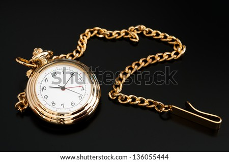Isolated black image of a pocket watch #136055444