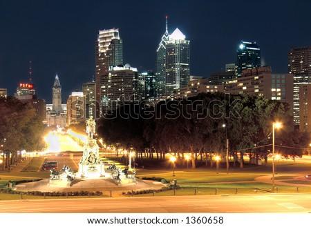 Philadelphia skyline at dusk, taken from the art museum