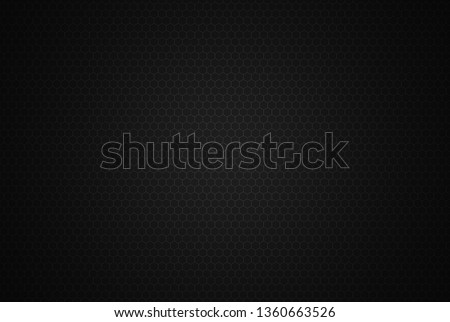 Honeycomb Grid seamless background or Hexagonal cell texture. With vignette dark border shadow. Black and White tone. #1360663526