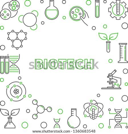 Biotech concept creative outline frame. Vector illustration #1360683548