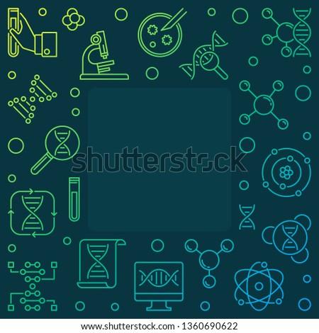 Heredity colorful concept square outline frame or illustration on dark background #1360690622