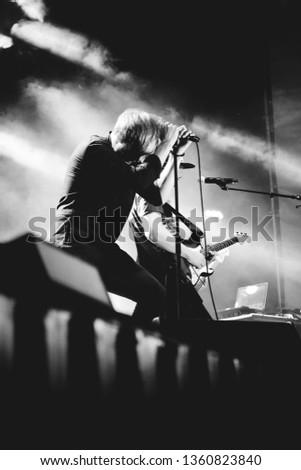 Potchefstroom, North west, South Africa 01 28 2016 Franscois van Coke performing live at rock festival lead singer silhouette  #1360823840