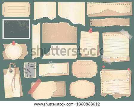 Old scrapbook paper. Crumpled papers pages, vintage scrapbooks papers and retro photo book scraps. Paper scrap, antique notice or grunge craft memo page. Vector isolated symbols illustration set #1360868612