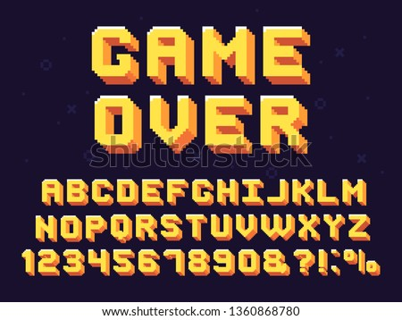 Pixel game font. Retro games text, 90s gaming alphabet and 8 bit computer graphic letters. Pixelated typeface letter, arcade game 8 bit pixel text and numbers retro vector symbols set #1360868780