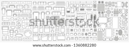 Set of linear icons. Interior top view. Isolated Vector Illustration. Furniture and elements for living room, bedroom, kitchen, bathroom. Floor plan (view from above). Furniture store. Royalty-Free Stock Photo #1360882280