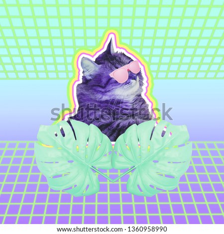 Contemporary art collage of cat head in sunglasses and palm or monstera leaves. Neon road background with gradient colors
