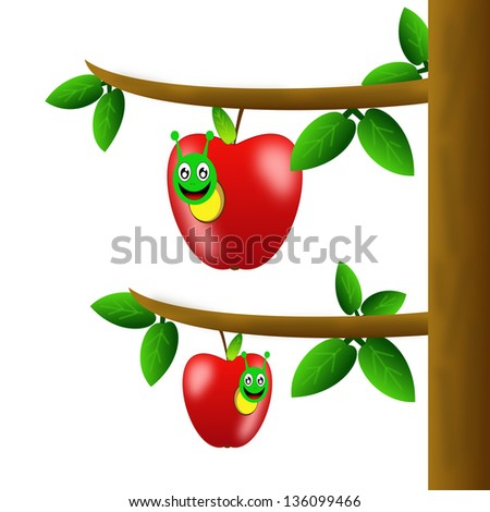 two red ripe apples hang on a tree, illustration