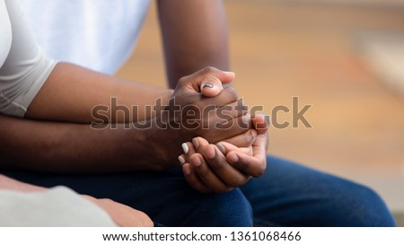 African american family couple holding hands, black man friend husband support comfort woman wife, hope empathy concept, trust care in marriage relationship, honesty and understanding, close up view #1361068466