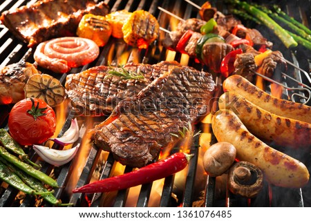 Assorted delicious grilled meat with vegetables sizzling over the coals on barbecue #1361076485
