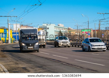 MOSCOW, RUSSIA,APRIL,2.2019:Day traffic on the streets of the capital.Ryazansky avenue #1361083694