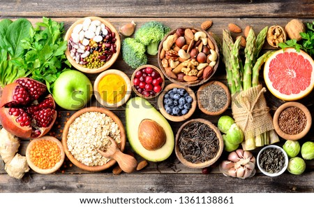 Superfoods, vegetables, fruits, seeds, legumes, nuts and grains for vegan and vegetarian eating. Clean eating. Detox, dieting food concept. Top view . #1361138861