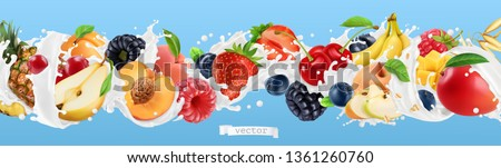 Milk splash. Yogurt with fruits and berries. Strawberry, raspberry, banana, peach, apricot, blackberry, blueberry, pineapple, mango, oat. 3d vector realistic set #1361260760