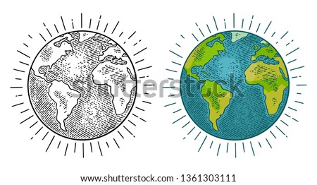 Earth planet. Vector color vintage engraving illustration isolated on a white background. For web, poster, info graphic. #1361303111