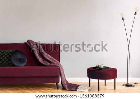 Minimalistic home interior with burgundy velvet design sofa and pouf, black lamp and elegant blanket, pillows. Copy space for inscription, mock up poster. Brown wooden parquet. Real photo. #1361308379