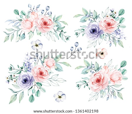 Watercolor flower set,  bouquets. Floral clip art. Perfectly for print on wedding invitation, greeting card, wall art, stickers and other. Isolated on white background. Hand paint design.