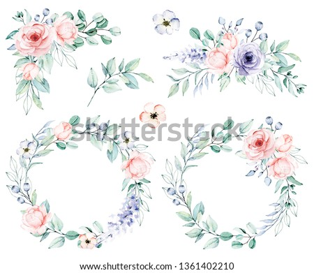 Watercolor flower set,  wreaths, bouquets. Floral clip art. Perfectly for print on wedding invitation, greeting card, wall art, stickers and other. Isolated on white background. Hand paint design.