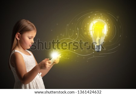 Adorable girl working on tablet with new idea concept #1361424632