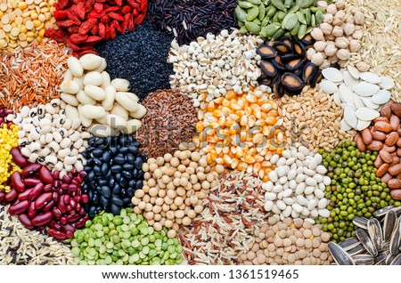 Variety of natural cereal food consisted of soybean,rice,goji berry,sesame,pumpkin,watermelon,sunflower seed,black eye pea,mung,peanut,flax seed,corn,pinto,garbanzo,black,gree,and  red bean seed #1361519465