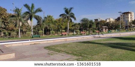A view of Park in fall or autumn season at Gurgaon, India on Apr 2019 #1361601518