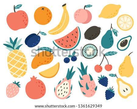 Doodle fruits. Natural tropical fruit, doodles citrus orange and vitamin lemon. Vegan kitchen apple hand drawn, organic fruits or vegetarian food. Vector isolated icons illustration set Royalty-Free Stock Photo #1361629349