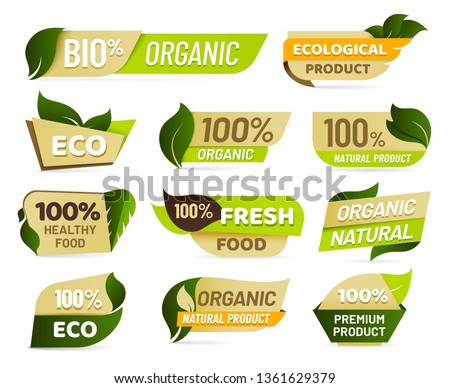 Vegan emblem. Fresh nature product badge, healthy vegetarian food products sticker and natural ecological foods labels. Eco market tag design, veggie market sticker. Vector isolated symbols set #1361629379