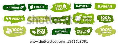 Organic food labels. Fresh eco vegetarian products, vegan label and healthy foods badges. Veganism logo, vegans diet sticker or ecological food product stamp. Vector isolated symbols set #1361629391