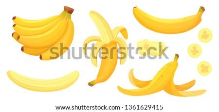 Cartoon bananas. Peel banana, yellow fruit and bunch of bananas. Tropical fruits, banana snack or vegetarian nutrition. Isolated vector illustration icons set #1361629415