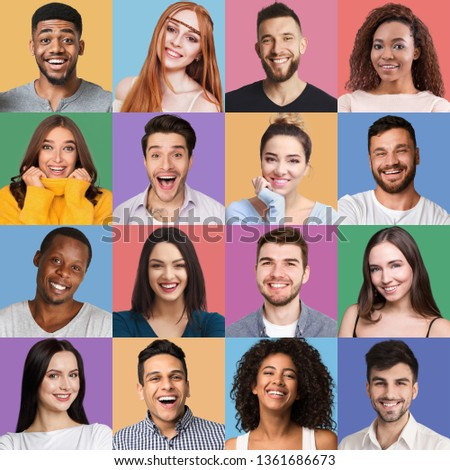 Different emotions collage. Set of male and female emotional portraits. Young diverse people posing at colorful backgrounds #1361686673