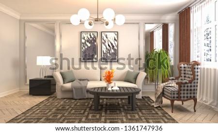 Interior of the living room. 3D illustration #1361747936