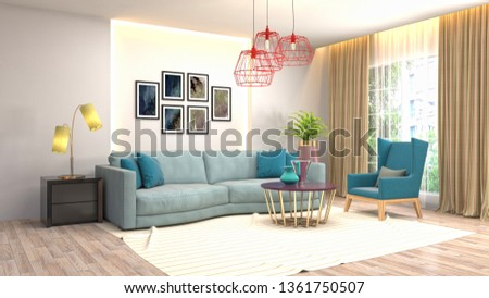 Interior of the living room. 3D illustration #1361750507