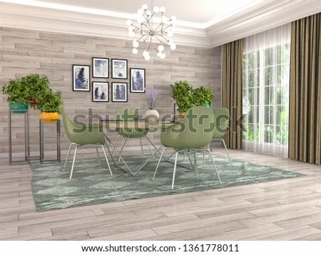 Interior dining area. 3d illustration #1361778011