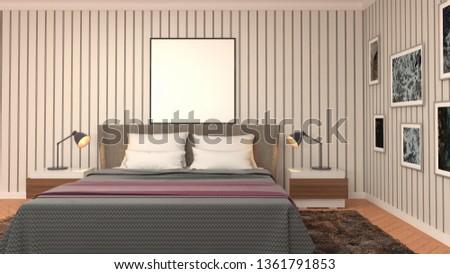 mock up poster frame in interior background. 3D Illustration #1361791853