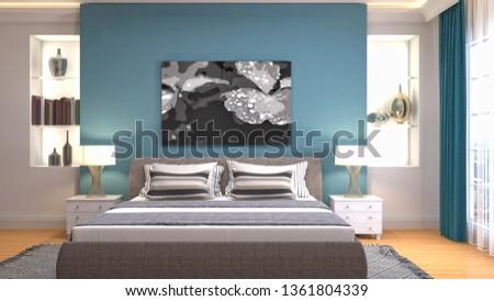 Bedroom interior. 3d illustration #1361804339