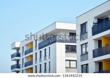Modern European residential apartment buildings quarter. Abstract architecture, fragment of modern urban geometry. #1361842214