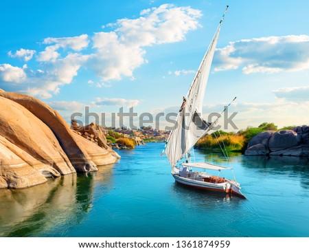 River Nile in Egypt. Aswan Africa #1361874959