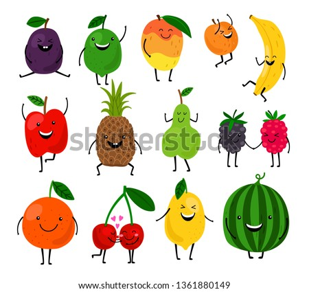 Fruits for kids. Cute fruit characters vector illustration, healthy juice cartoon kawaii summer fruits isolated on white background #1361880149