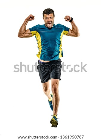 one caucasian handsome mature man running runner jogging jogger isolated on white background #1361950787